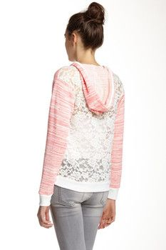 Lily White Lace Back Hooded Sweatshirt (Juniors)