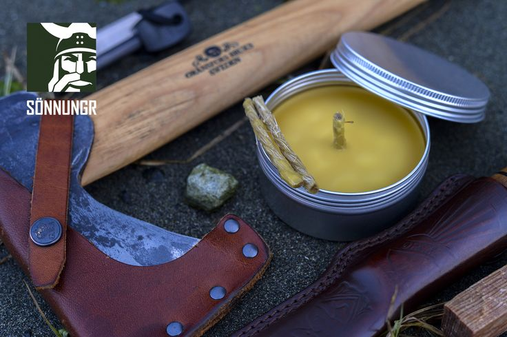 Lífskerti: 100% Natural Viking Bees Wax Survival Candle. 100% Grade #1 bees wax, which will burn longer and cleaner than any other type of wax. Wick is natural jute, without any chemical treatment, or silver element.