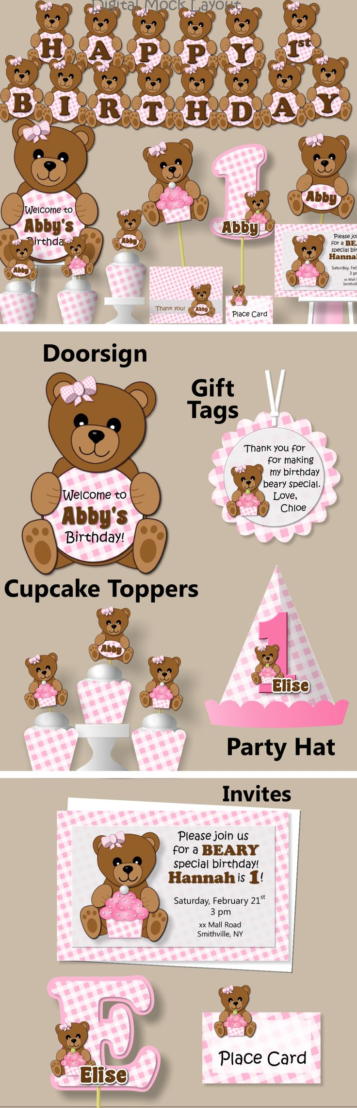 Teddy Bear Picnic Birthday Party or Baby Shower Decorations #bcpaperdesigns