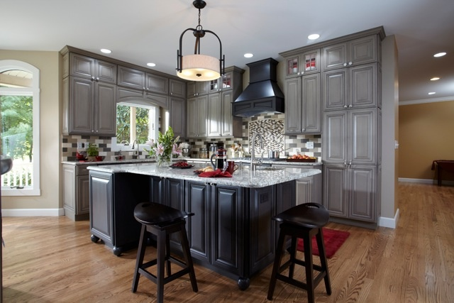 Best Kitchen Maple Floors Gray Cabinets Tan Walls White 640 x 480