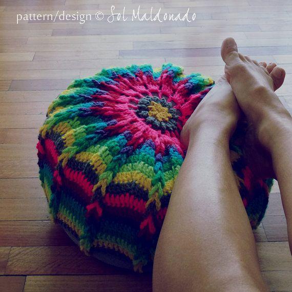 Crochet Pouf Mandala Crochet Pattern PDF  pillow, floor round cushion by Sol Maldonado