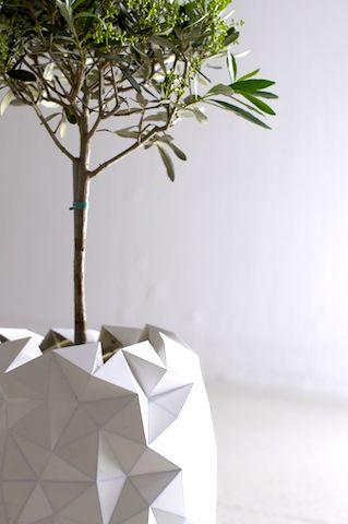 折り紙にインスパイアされた「植木鉢」。植物と共に大きく成長する