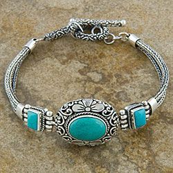 @Overstock - Carry the feel of the southwest with you with this stunning turquoise bracelet. The handmade bracelet features a sleek clasp that anyone can use, and the combination of turquoise and an antiqued finish add a fun look to your everyday wear.http://www.overstock.com/Worldstock-Fair-Trade/Silver-Cawi-Motif-Turquoise-Bracelet-Indonesia/3364897/product.html?CID=214117 $121.99