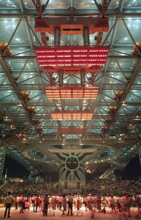 Under the big roof of the Festival Plaza, Osaka Expo '70, photographed by Arata Isozaki. 1970