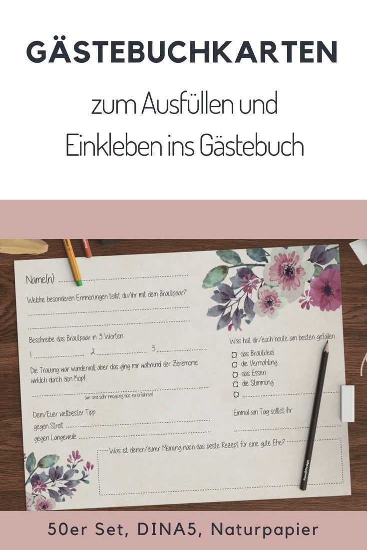 Gästebuch Hochzeit mit Fragen zum Ausfüllen