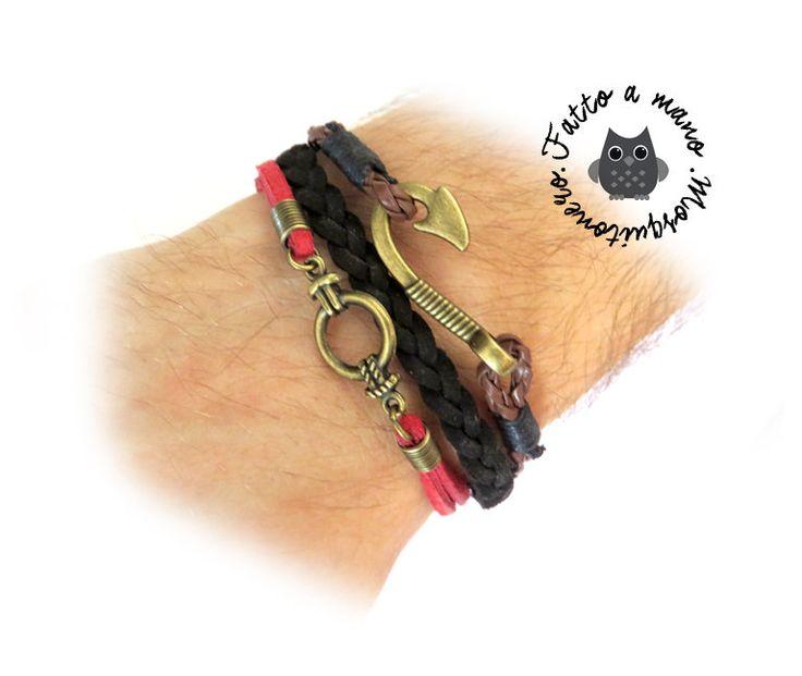Bracciale uomo Uncino Hook Amo e nodo marinaio nautico pelle braccialetto polsino bronzo, by Mosquitonero Shop, 7,90 € su misshobby.com