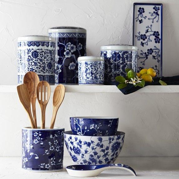 Blue & White Ceramic Mixing Bowls, Set of 2 #williamssonoma