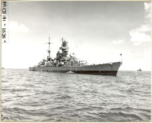 "USS Prinz Eugen (IX 300) at sea during Operation ""Crossroads"". ¾ view STBD forward. - NARA - 80-G-627445.tif"