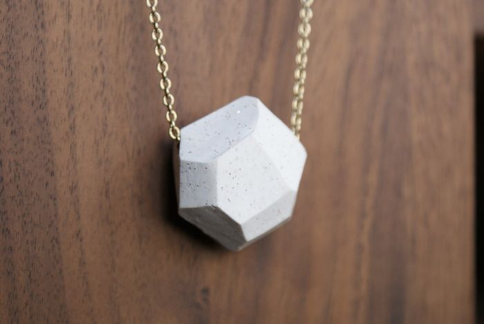 Geometric pendant necklace from polymer clay