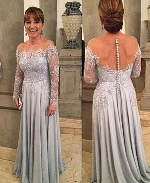 3bf4ec8802fc Online shopping for Long Sleeves Back Button Mother of the Bride Dress with  Lace. Find out what's hot and new from our online store.