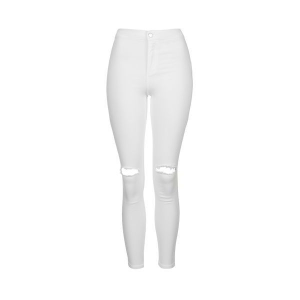 TopShop Petite White Rip Joni Jeans ($56) ❤ liked on Polyvore featuring jeans, bottoms, pants, white, super skinny jeans, white ripped jeans, distressed skinny jeans, destructed skinny jeans and high-waisted skinny jeans