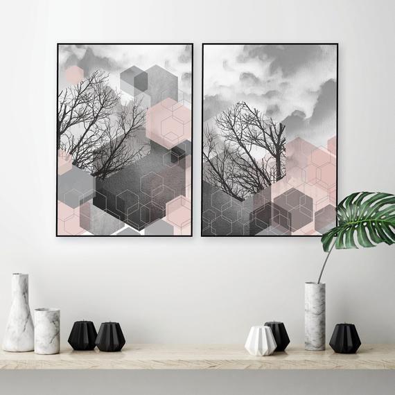 Geometric Abstract Printable Art Set Of 2 Blush Pink Grey Wall Etsy Printable Art Set Grey Wall Art Pink Grey Wall Art