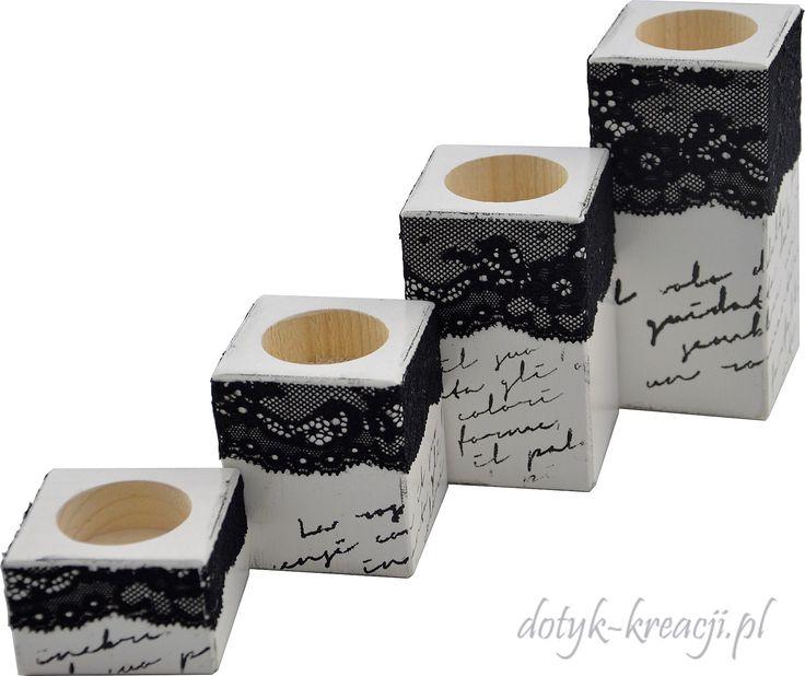 Świeczniki z romantyczną koronką :) do kupienia na http://dotyk-kreacji.pl/