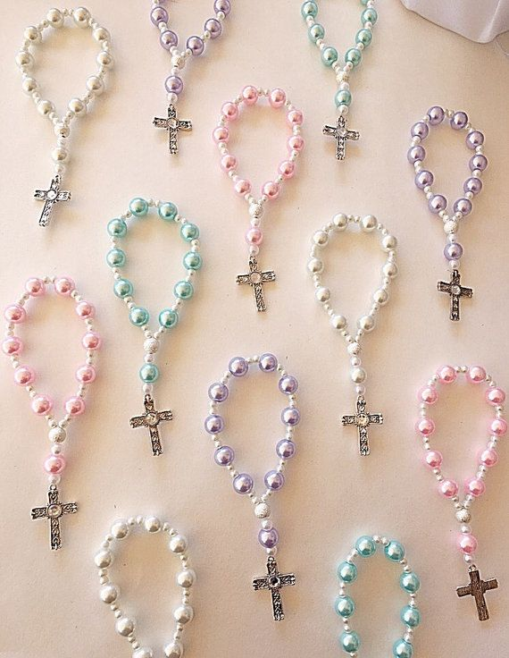 A DOZEN Beautiful Lavender Light Blue and White Pearl Rosary
