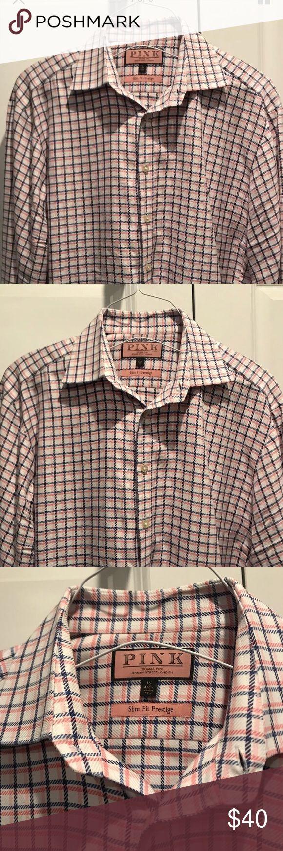 Thomas pink prestige line size 16 shirt Thomas pink prestige line size 16 shirt. White, pink, and navy. Thomas Pink Shirts Dress Shirts