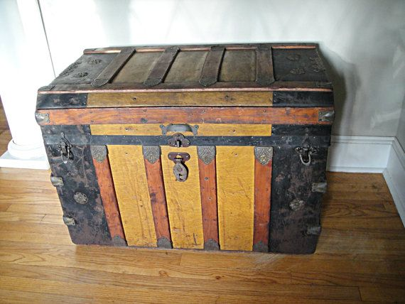 Victorian Trunk  Early 1800's Steamer Trunk by RustyNailDesign, $339.00