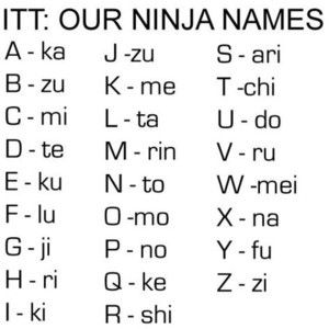 Ninja Names... mine is: Zumofu Lukakichiri Zukutotokitojiari  (Joy Faith Jennings)