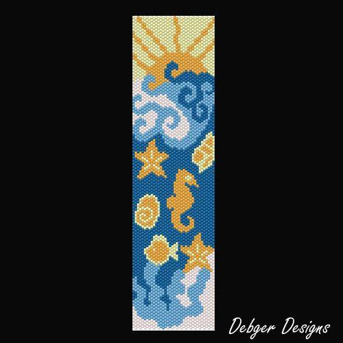 Seaside Beaded Peyote Bracelet Cuff Pattern di FUNPATTERNDESIGNS
