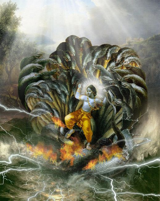 While Krishna was playing with some herdboys, their ball fell into the river and Krishna jumped after it. The serpent Kāliya rose up with his hundred and ten hoods vomiting poison and wrapped himself around Krishna's body. Krishna became so huge that Kāliya had to release him. When he saw the Brij folk were afraid he sprang onto Kāliya's head and assumed the weight of the whole universe, and danced on the naga's heads, beating time with his feet.