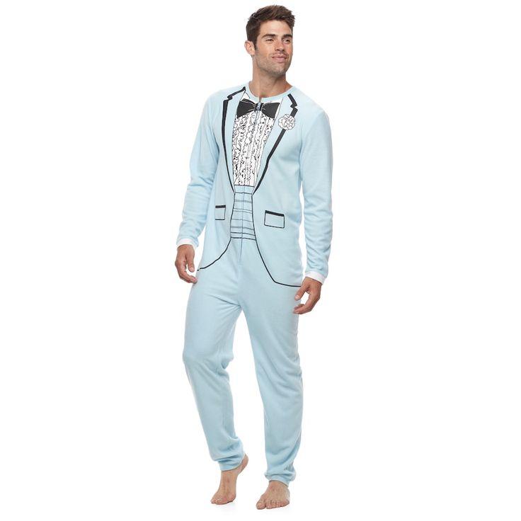Men's Tuxedo Union Suit, Size: Medium, Blue