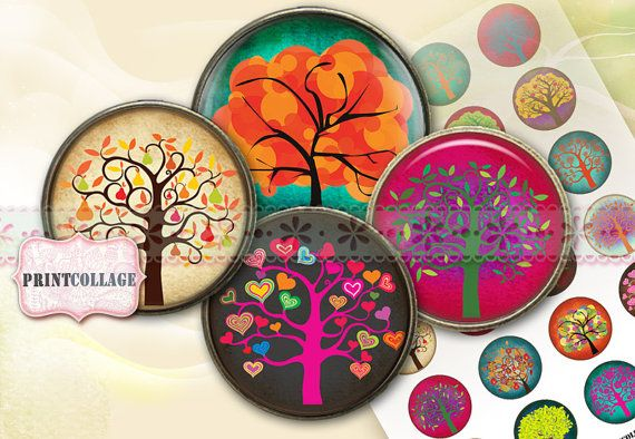 Digital Printable Sheets Cabochon images 1.5inch by PrintCollage, $4.40