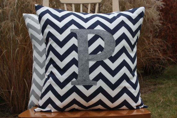 Navy Blue Chevron Pillow Cover with Heather Grey by nest2impress, $21.00