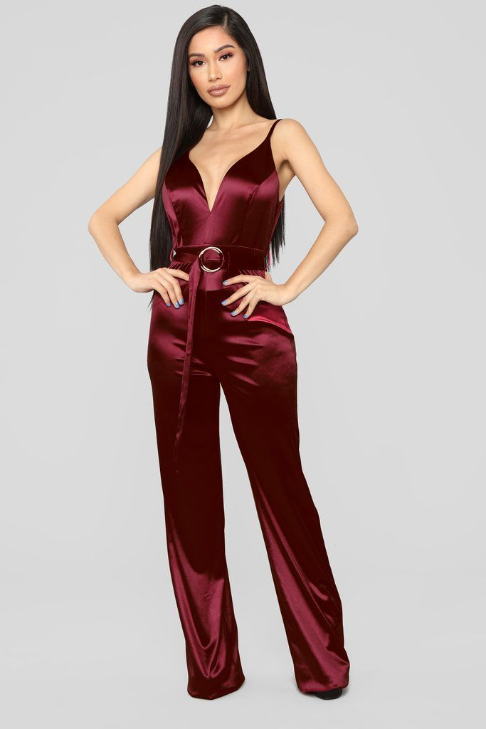 b232af7209765 This Is Everything Satin Jumpsuit - Burgundy in 2019 | Fashion Nova ...