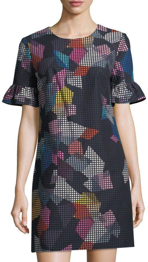 Trina Turk Darling Geo-Print Check Dress