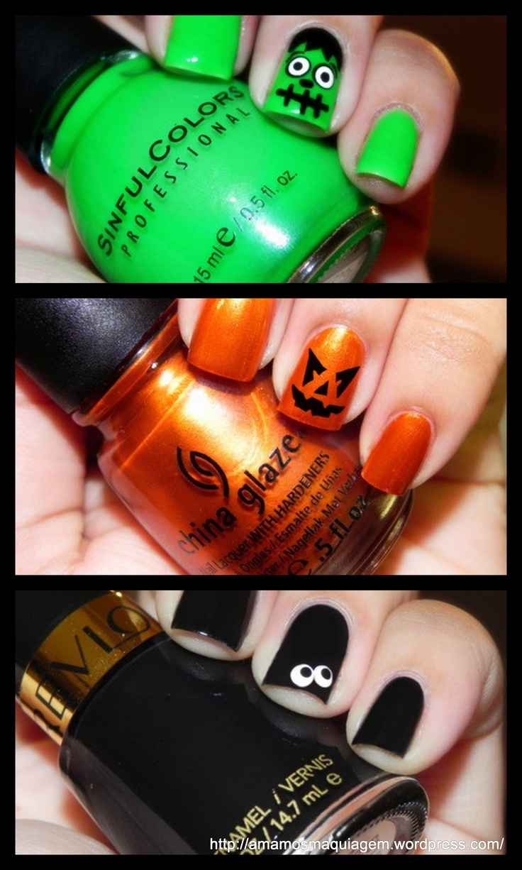 Halloween Nail Art - Unhas decoradas Halloween I have all 3 colors