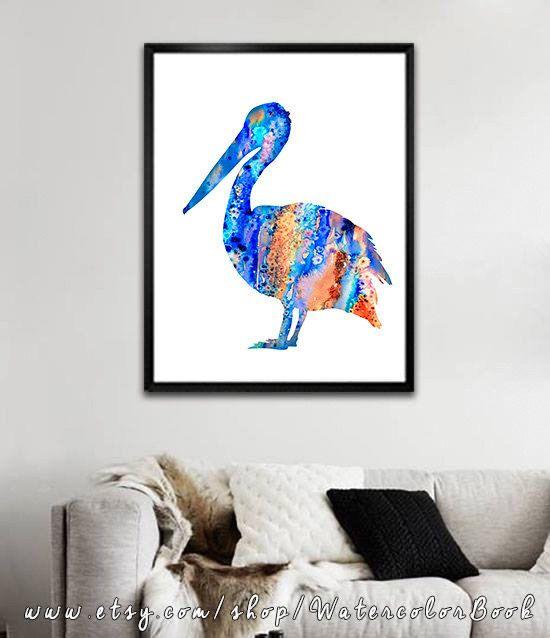 Pelican 4 Watercolor Print Pelican art animal by WatercolorBook