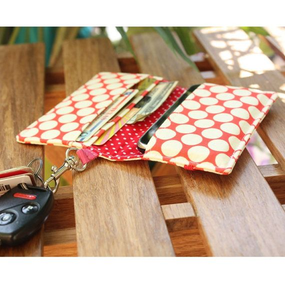 Smart Phone Wallet Or Cell Case in Light Cherry Red and Cream Polka Dot Print Fabric