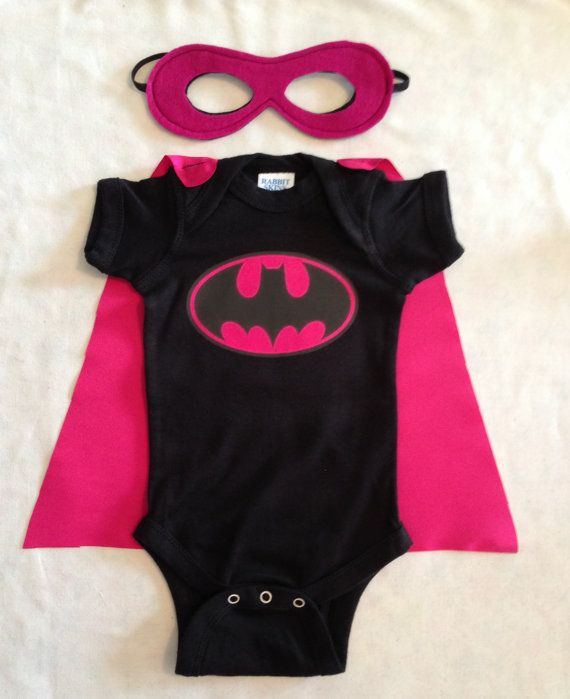 Batgirl Superhero Baby Onesie with Detachable Satin Cape and Reversible Mask, Pink Batman Apparel or Costume via Etsy