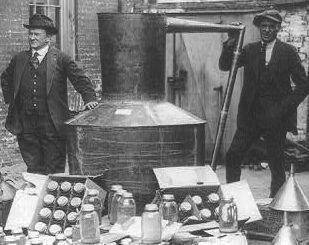 Moonshine was a name for illegal alcohol made by criminals. At that time it was a profitable business but highly illegal.
