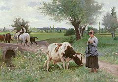 Farm Paintings - The Well Kept Cow  by Edouard Debat-Ponsan