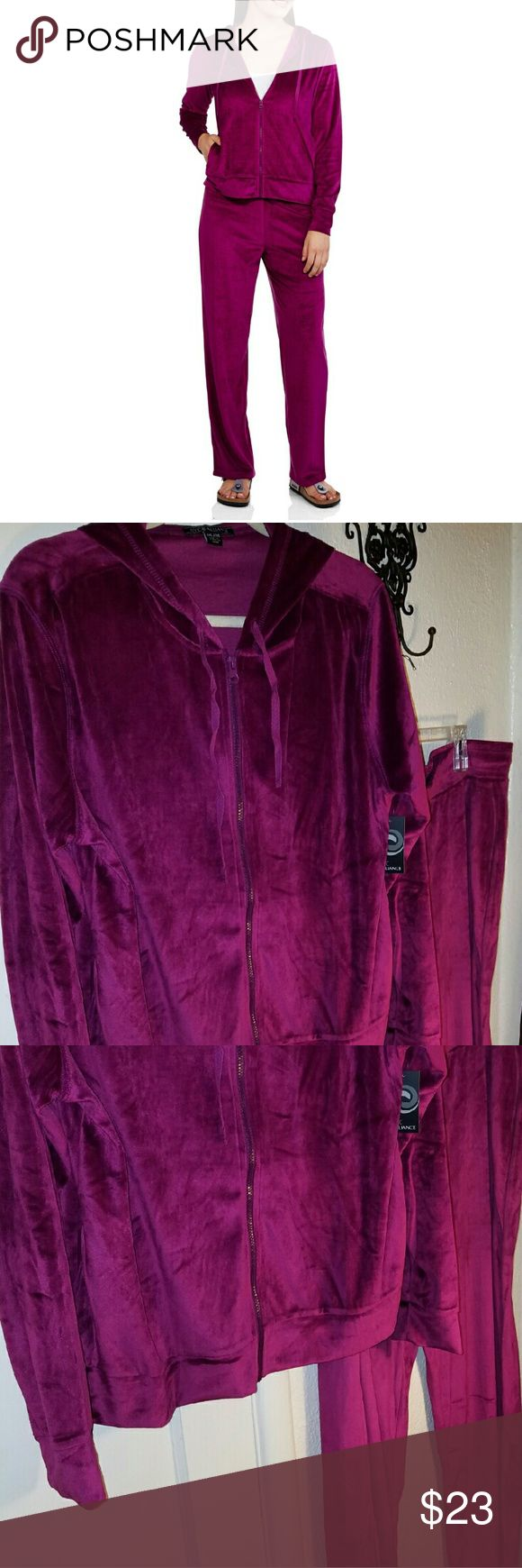 Vulour Track Suit Lounge Wear Hoodie Set New Vulour, Velvet SOFT Track Suit Lounge Wear Hoodie Set! Plus size Women's Size, super soft lounge set in Color Berry  I LOVE Bundling to SAVE YOU Money. All items are from clean smoke free animal friendly home. NYC  Tops Sweatshirts & Hoodies
