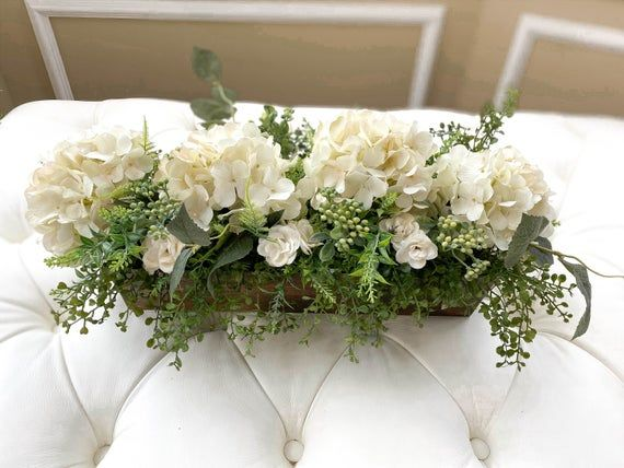 Farmhouse Hydrangea Centerpiece With Greenery Silk Flower Etsy Dining Room Table Centerpieces Kitchen Island Centerpiece Hydrangea Centerpiece