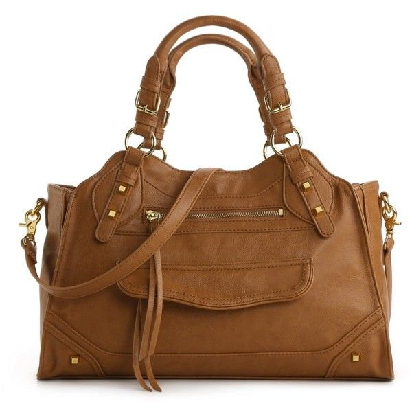 Jessica Simpson Melrose Satchel ($70) ❤ liked on Polyvore featuring bags, handbags, purses, bags/clutches, satchels, handbag satchel, handbags purses, man satchel bag, brown hand bags and satchel purse