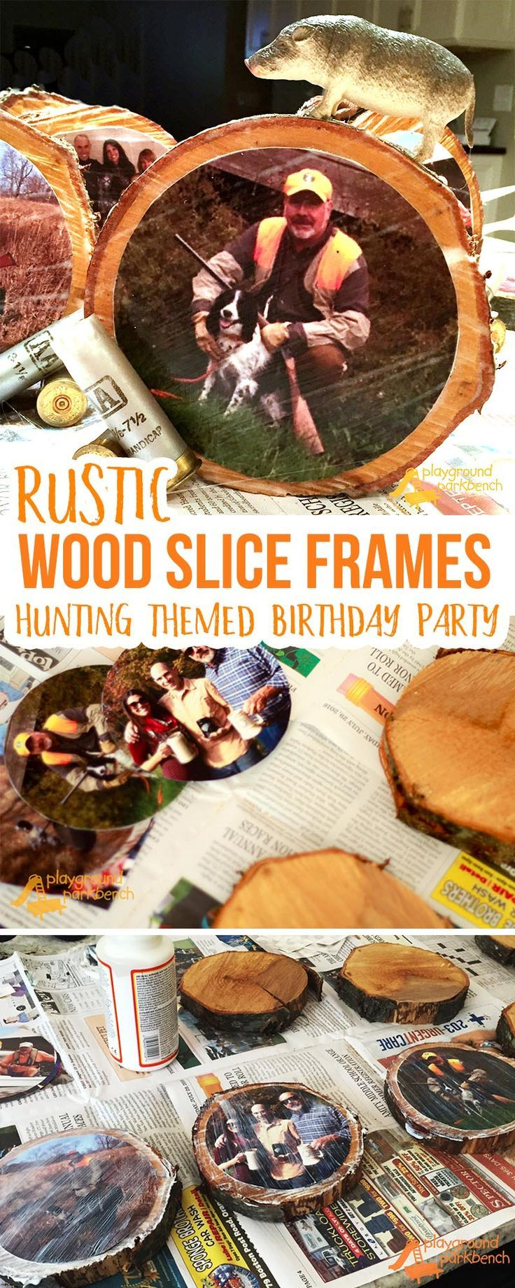 Want a fun, personalized touch to your Hunting Themed Birthday Party? These Rustic Wood Slice Frames were such a festive touch to our party centerpieces. They also now make awesome home decor accents at my in-law's mountain cabin home. | Party Ideas | Home Decor | DIY | Photo Frames | Rustic Home Decor | Cabin Decor |