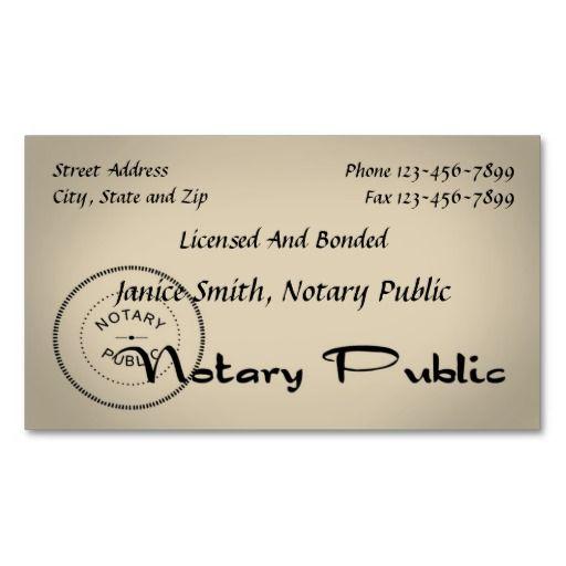 Notary public business card design ideas pinterest for Examples of notary public business cards