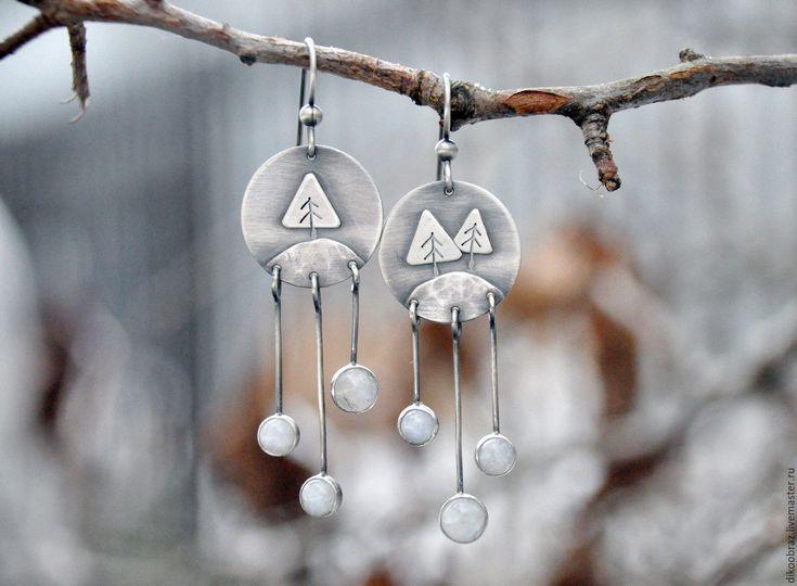 """Купить Серьги """"Первый снег"""" (серебро 925, лунные камни) - белый, зима, Снег, снежинка"""