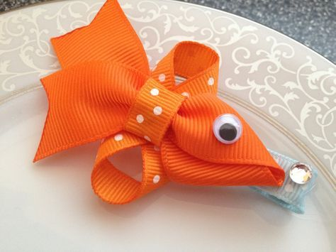 Fish Hair Clip – Goldfish – Baby Hair Clip – Ribbon Sculpture – Hair Bow – Orange Clippie – Girl Hair Clip – Infant Hair Clip. $5.50, via Etsy | Like the crystal bubble detail!