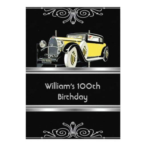 Mans 100th Birthday Party Black Vintage Car