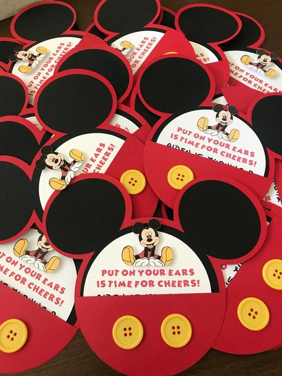 Mickey Mouse Invitation Premium With Real Buttons In 2019 Creative