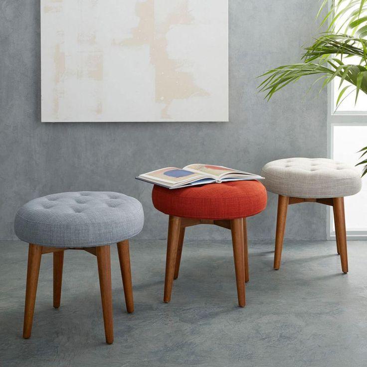 Mid Century Upholstered Stool