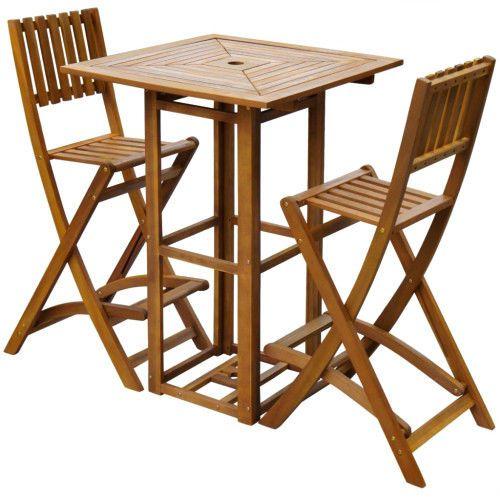 3 Piece Outdoor Bar Set Garden Dining Table and Folding High Chairs Acacia Wood  #SmartDealsMarket