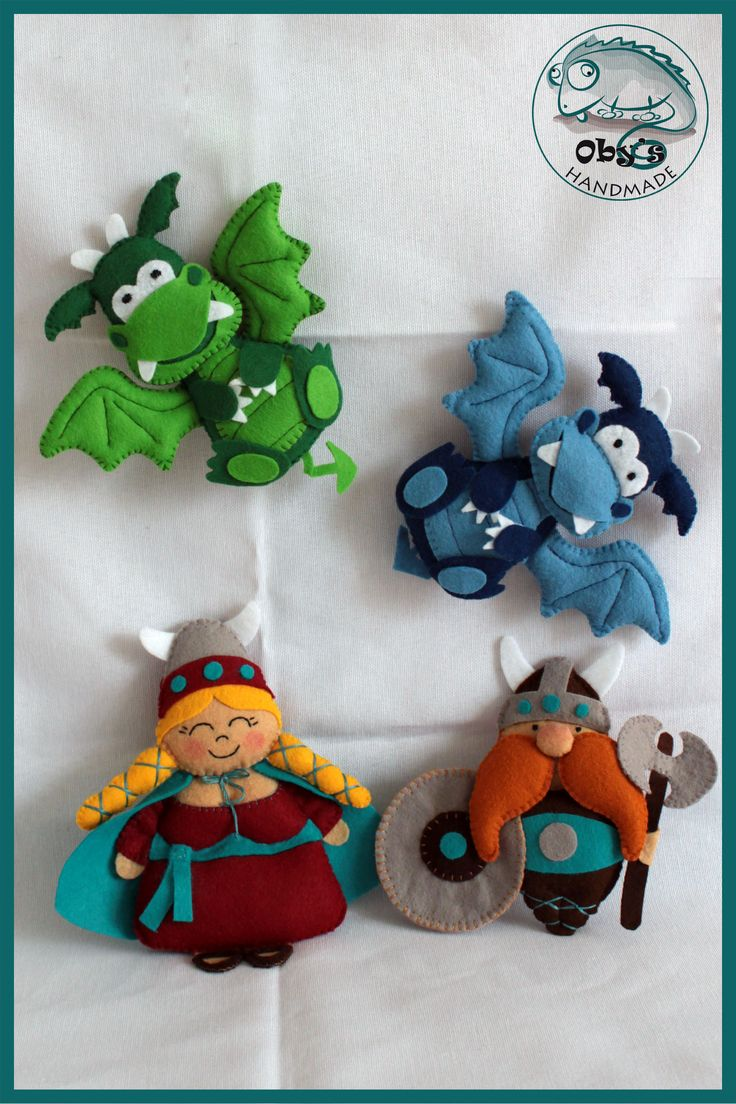 Oby's Handmade - Giostrina bebè in feltro con draghi e vichinghi, realizzata completamente a mano.  Felt baby movil with dragons and vikings, completely handmade.  Baby Mobile aus Filz mit Drachen und Wikinger, völlig handgemacht.