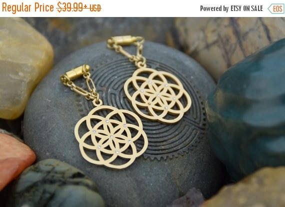 ON SALE Seed of Life Sacred Geometry Magnetic Clasp Gauged