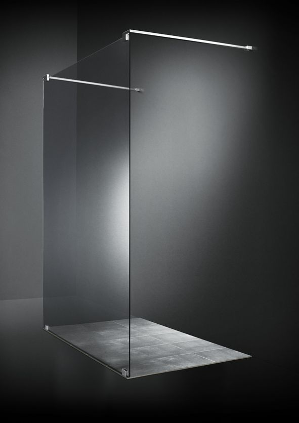 One large glass pane floates weightlessly in the room and creates shower screening with an unsurpassed aesthetic value.