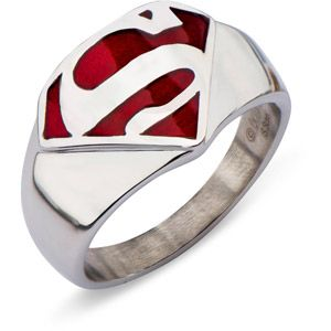 Stainless Steel Red Superman Ring  Not Celtic but cool ring!