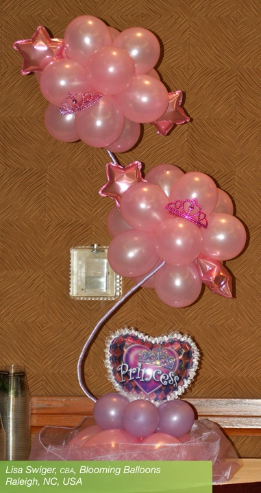 #Princess #party balloon centerpiece by Lisa Swiger, CBA, of Blooming Balloons in Raleigh, NC, USA. #balloon #column #centerpiece #princess #tiara #crown